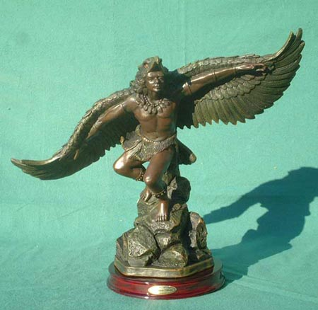 Indian Chief, eagle dance, bronze reproduction