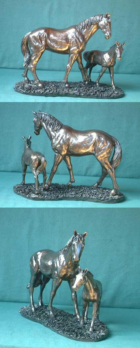 Horses, cast bronze imitation, England