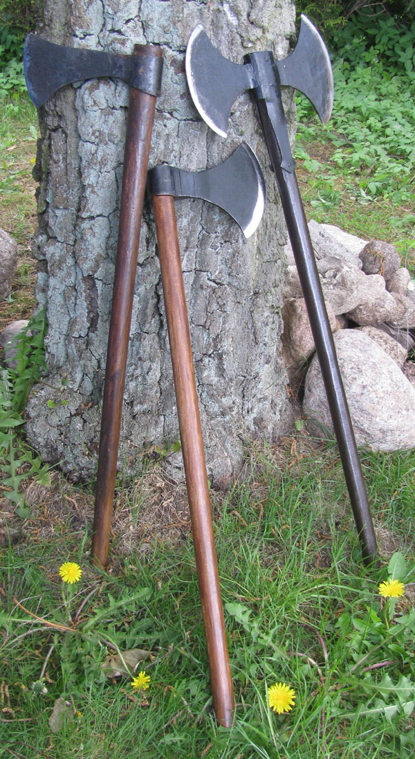 Set of 3 different types of Viking axes